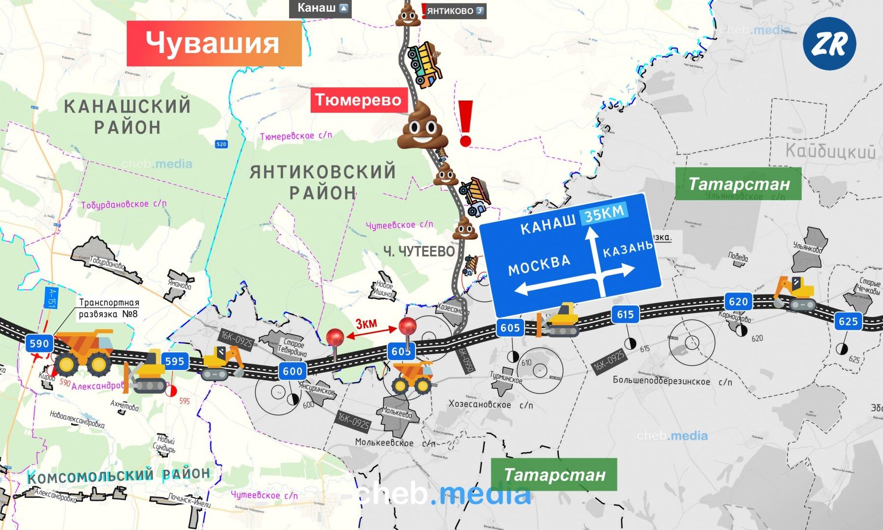 Стройматериалы для 7-го участка везут из Канаша в Татарстан